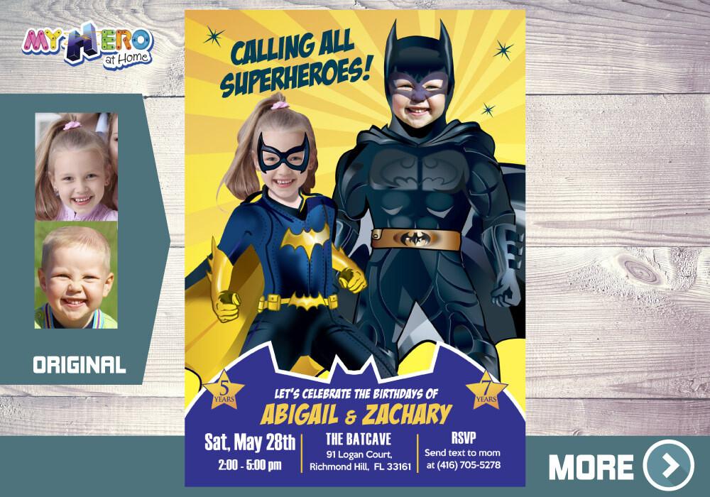 Batman and Batwoman Birthday Invitation, Batman and Batwoman Siblings Party, Joint Batman Party Ideas, Invitación de Batman y Batichica, 297