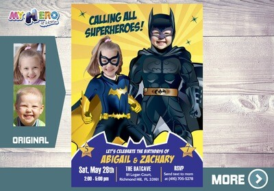 Batman and Batwoman Birthday Invitation, Batman and Batwoman Siblings Party, Joint Batman Party Ideas, Invitación de Batman y Batichica, 297
