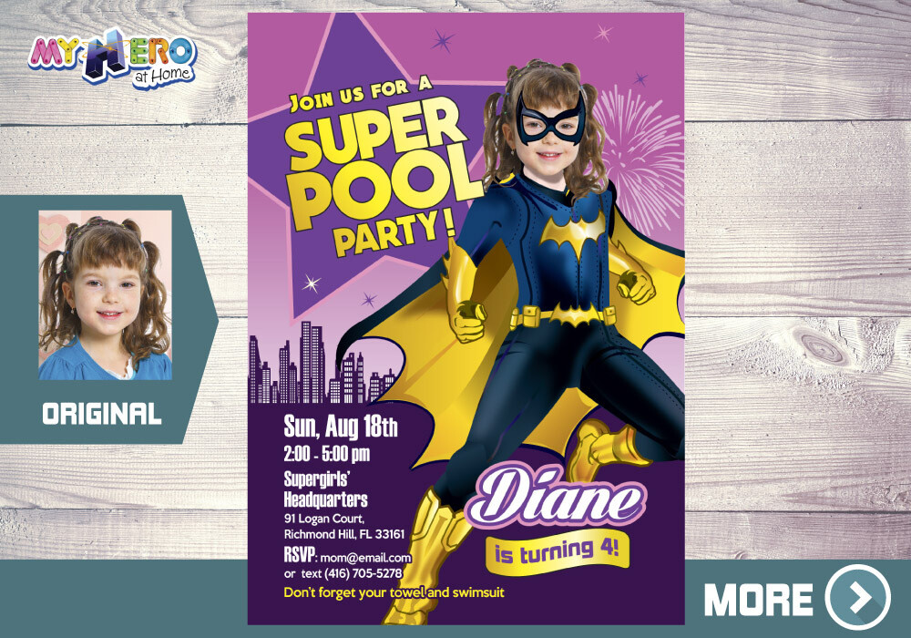 Batwoman Pool Party Invitation, Batwoman Pool Party Birthday, Batwoman Invitation, Batwoman Water Party, DC hero super girls Party, 354