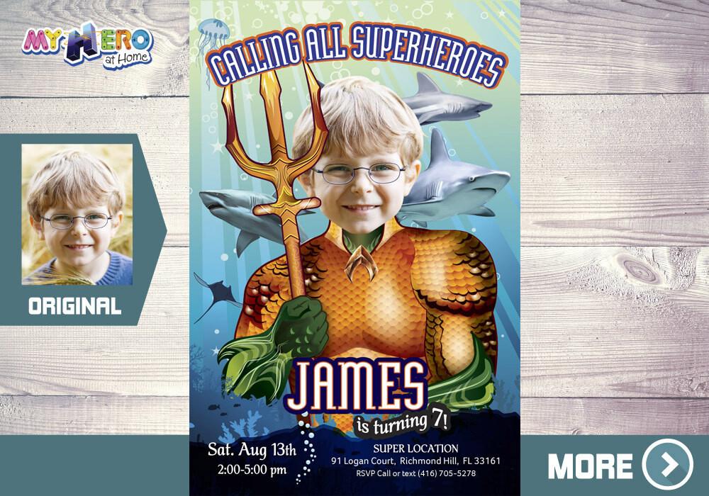 Aquaman Birthday Invitation, Aquaman theme Party, Underwater Atlantis Party, Aquaman Party, Aquaman Digital, Aquaman Decor, 194