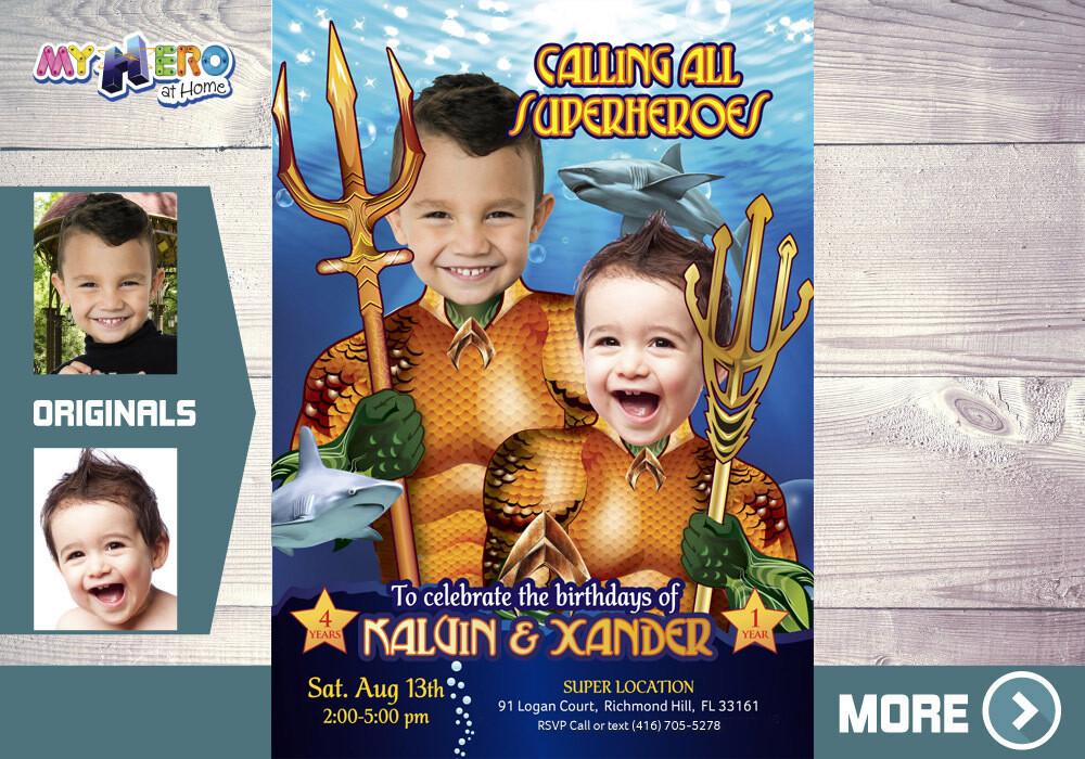 Aquaman Birthday Invitation for Siblings, Joint Aquaman Party Invitation, Siblings Aquaman theme party, Joint Aquaman Birthday. 196