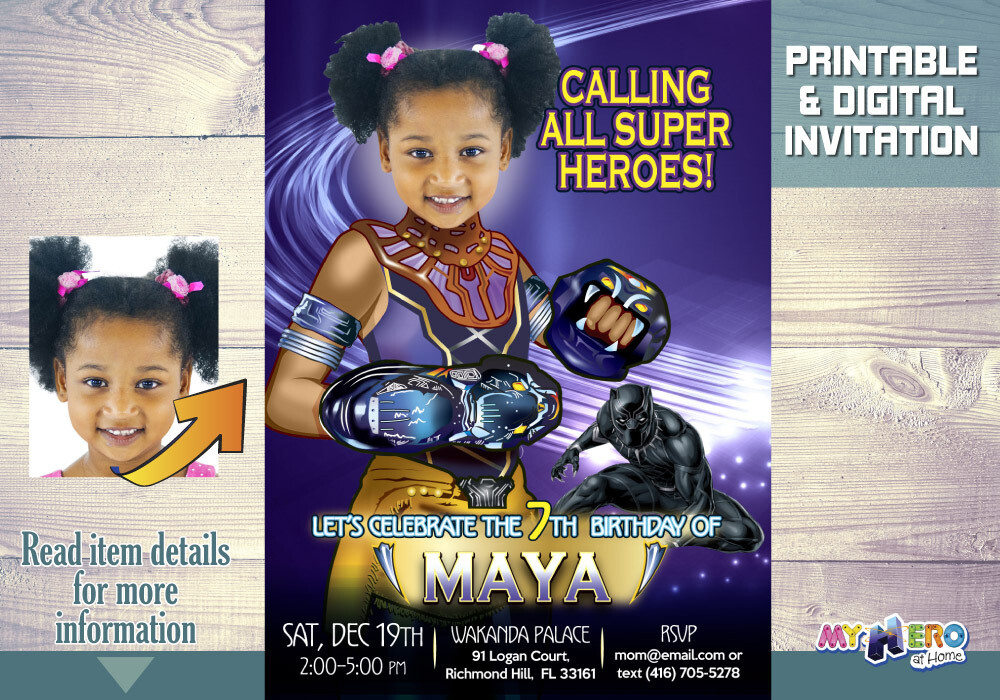 Shuri Birthday Invitations. Turn your little girl into Princess Shuri. Black Panther Party Ideas for Girls. Black Panther Birthday. 178