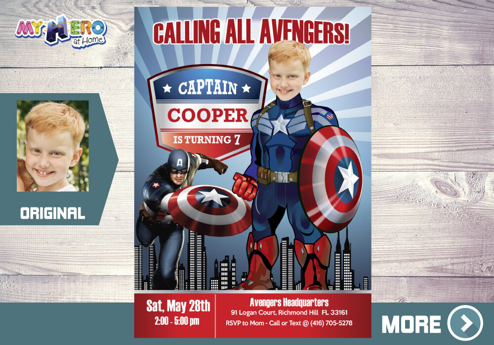 Captain America Invitation. Captain America Party. Captain America Birthday. Avengers Party Invitation. Fiesta tema Capitán América. 075