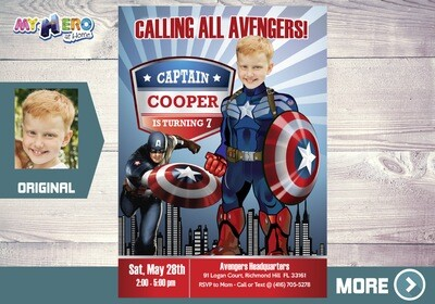Captain America Invitation. Captain America Party. Captain America Birthday. Avengers Party Invitation. Fiesta tema Capitán América. 075