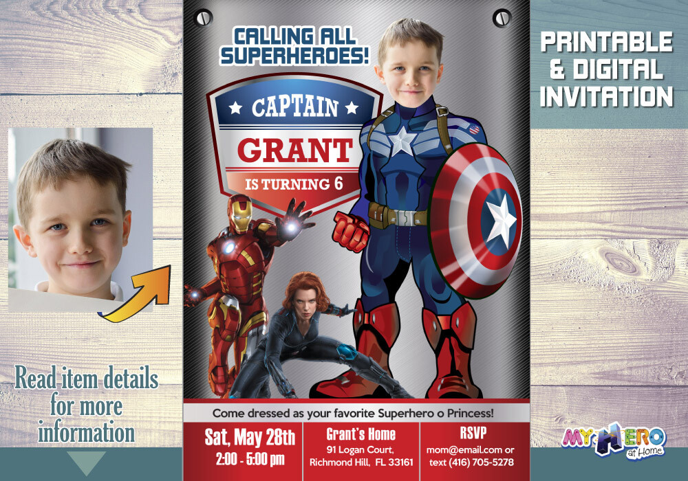 Captain America Birthday Invitation. Captain America Party Invitation. Avengers Birthday Invitation. Captain America theme birthday. 076