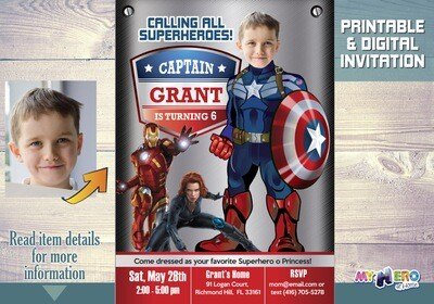 Captain America Birthday Invitation. Captain America Party Invitation. Avengers Birthday Invitation. Captain America theme birthday. 076