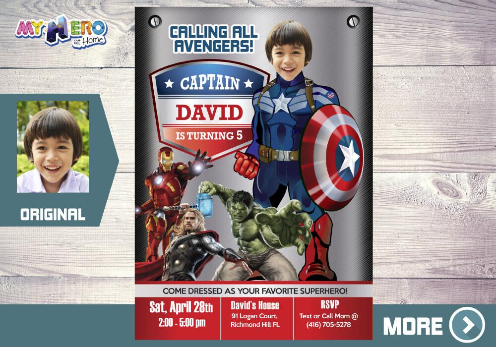 Captain America Invitation. Captain America Birthday. Avengers Party Ideas. Avengers Invitation. Fiesta Tema Capitán América. 077