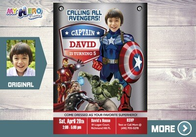 Captain America Invitation. Captain America Birthday. Avengers Party Ideas. Avengers Invitation. Fiesta Tema Capitán América. 077
