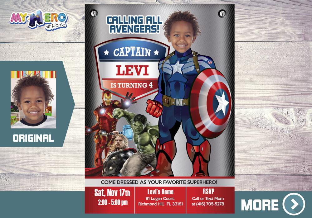 Captain America Birthday Invitation, Avengers Birthday Invitation, Captain America Digital, Captain America Virtual. 077AA