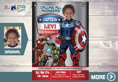 Captain America Invitation. Avengers Invitation. Avengers Birthday Invitation. Captain America Party. Capt America Invitation. 077AA