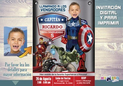 Captain America Invitation, Captain America Birthday, Avengers Party Ideas, Avengers Invitation, Fiesta Tema Capitán América, 077