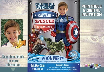 Captain America Pool Party Invitation, Pool party Avengers ISnvite, Captain America Pool Party Birthday, Avengers Pool Party Invitation. 078