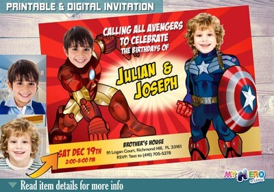 Captain America and Iron Man Birthday Invitation, Brothers Superheroes Birthday, Joint Avengers Party, Iron Man Captain America Party. 080