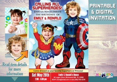 Superheroes Birthday Invitation. Baby Wonder Woman and Captain America Invitation. Superheroes Siblings Invite. Joint superheroes party. 081