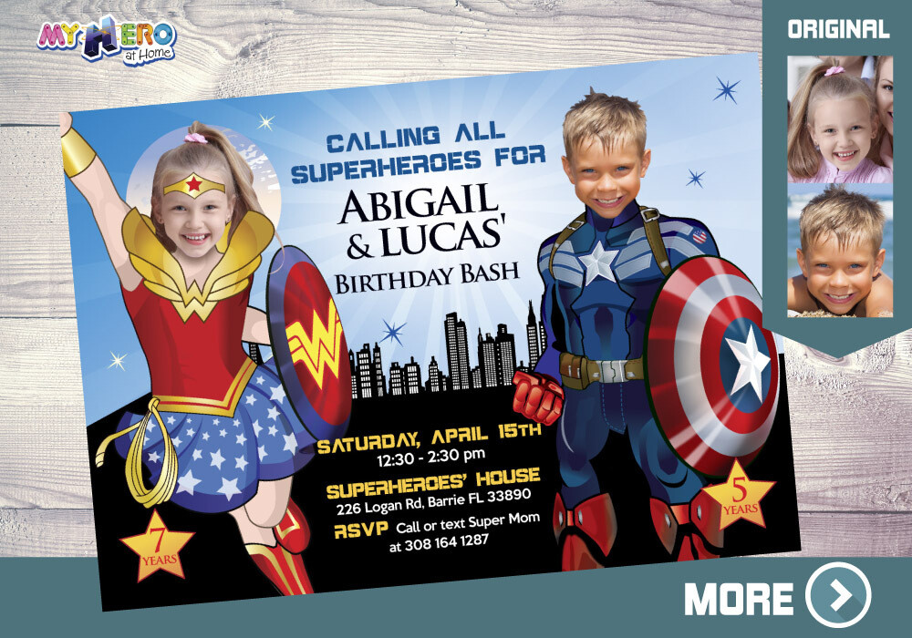 Wonder Woman and Captain America Invitation, Superheroes Siblings Party, Joint Captain America and Wonder Woman Party, Super Siblings, 082