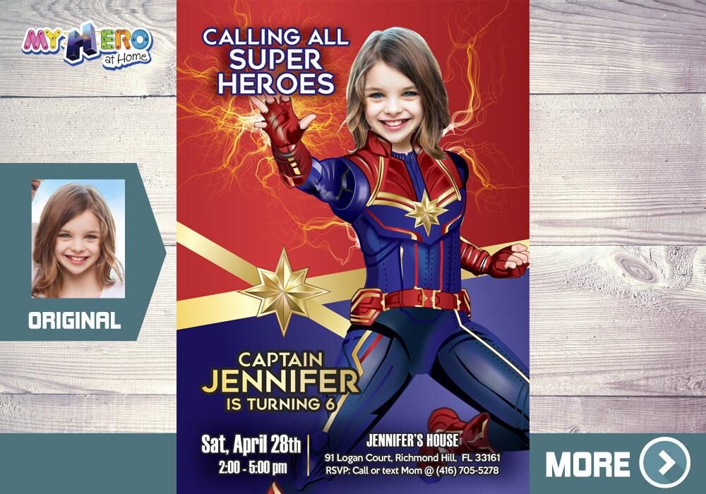 Captain Marvel Invitation, Captain Marvel Party, Fiesta tema Capitana Marvel, Girly Avengers Birthday Ideas, Captain Marvel Birthday, 288