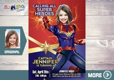 Captain Marvel Invitation, Captain Marvel Party, Fiesta tema Capitana Marvel, Girly Avengers Birthday Ideas, Captain Marvel Birthday, 288