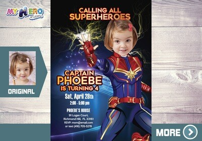 Captain Marvel Invitation, Captain Marvel Party, Captain Marvel Birthday, Captain Marvel Digital, Fiesta tema Capitana Marvel. 289