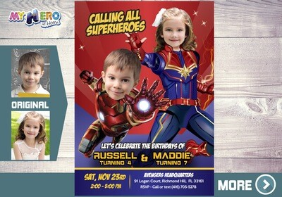 Iron Man and Captain Marvel Invitation. Avengers Siblings Party. Joint Iron man and Captain Marvel Party. Joint Avengers Birthday. 298