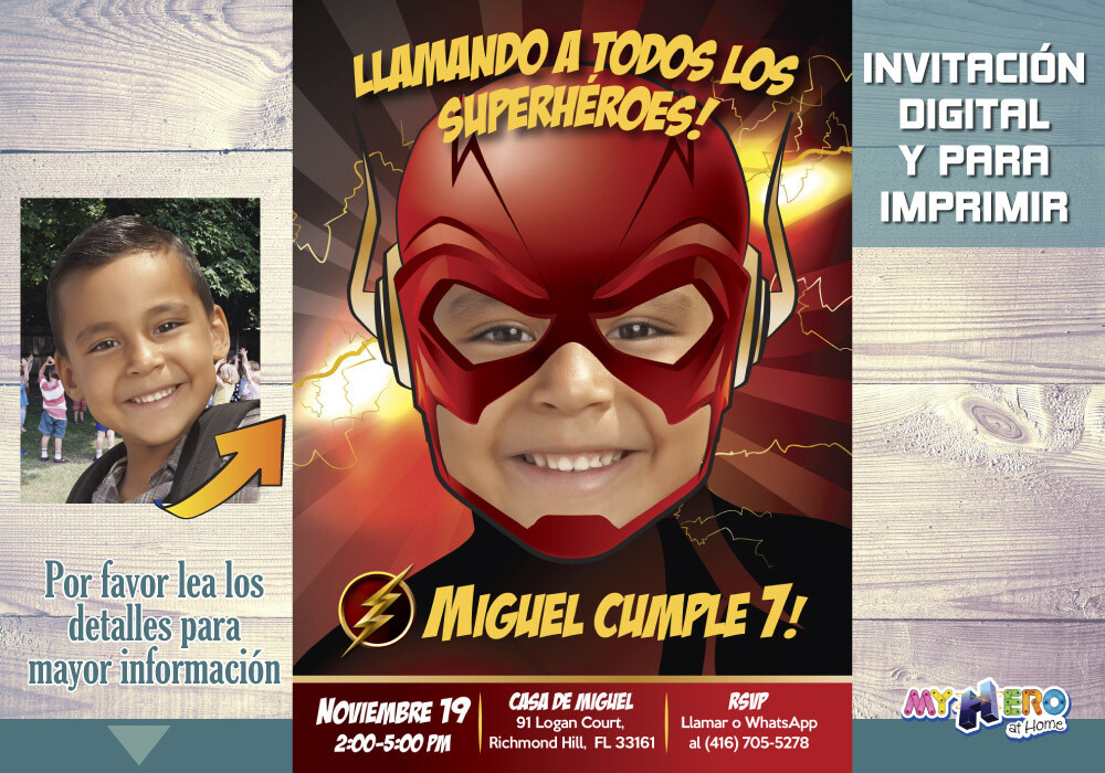 Flash Invitación de Cumpleaños, Invitación de Flash, Fiesta Tema Flash, Fiesta Liga de la Justicia, Decoración Flash, Flash Digital, 084SP