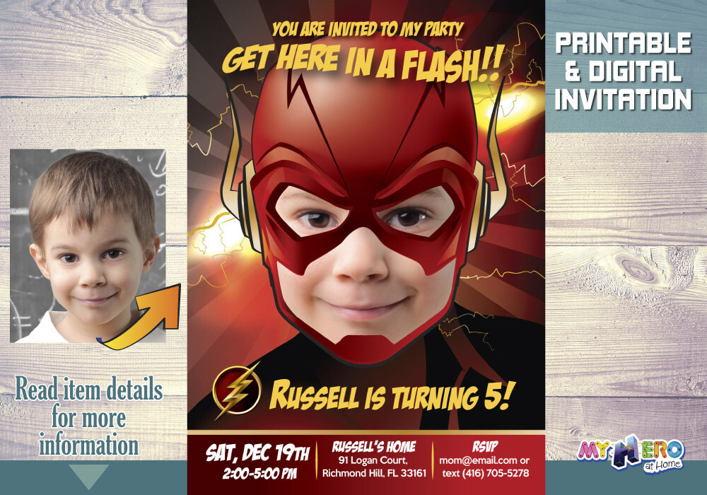 Flash Invitation. Get here in a Flash Invitation. Flash party. Flash Birthday Ideas. Flash themed Party. Fiesta tema Flash. 085