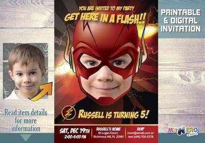 Flash Birthday Invitation, Flash theme party, Get here in a Flash Birthday, Flash Party, Flash Digital, Flash Virtual, Flash Drive-By. 085