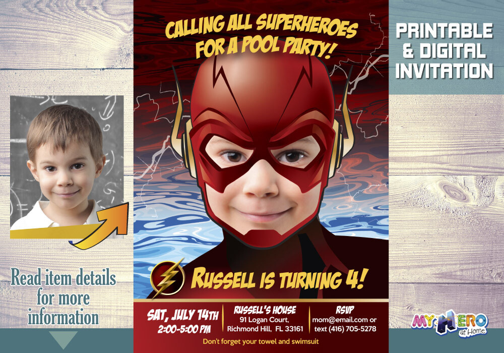 Flash Pool Party Invitation, Flash Birthday, Flash Pool Party Birthday, Flash Waterslide Party, Flash Splash Party. 086