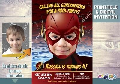 Flash Pool Party Invitation, Flash Birthday, Flash Pool Party Birthday, Flash Waterslide Party, Flash Splash Party. 086
