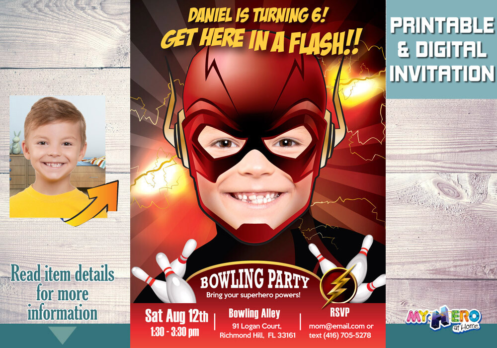 Flash Bowling Party Invitations. Turn your boy into The Flash. Flash Bowling Party Ideas. Superhero Birthday Bowling Party Ideas. 142