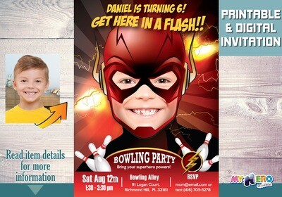 Flash Bowling Party Invitation, Flash Bowling Party, Superhero Bowling Party, Flash Digital, Bowling Party theme Flash. 142