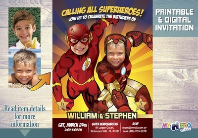 Flash and Iron Man Birthday Invitation, Joint Superheroes Party, Iron Man and Flash Party, Siblings Superheroes Birthday. 159