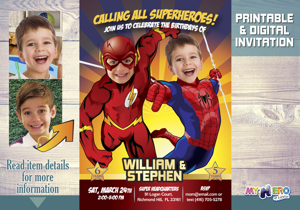 Flash and Spiderman Birthday Invitation. Joint superheroes birthday. Superheroes Birthday Invitation. Brothers Superheroes Birthday Party. 182