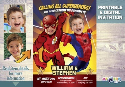 Flash and Spider-Man Birthday Invitation, Joint superheroes Party, Spider-Man and Flash Party, Brothers Superheroes Birthday Party. 182