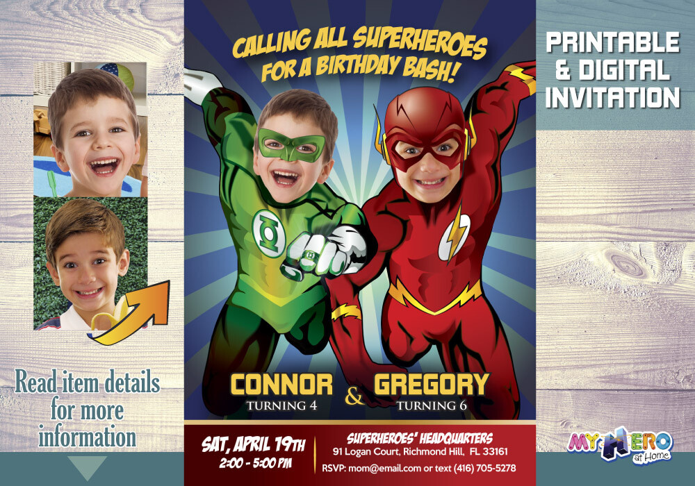 Green Lantern and Flash Birthday Invitation, Flash and Green Lantern Party, Joint Justice League Party. 166