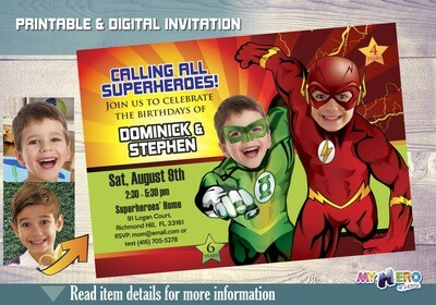 Flash and Green Lantern Birthday Invitation, Justice League Siblings Party, Joint Superheroes Birthday, Flash and Green Lantern Party. 165