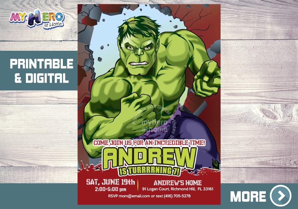 Hulk Birthday Invitation, Hulk Birthday ideas, The Incredible Hulk Birthday Invitation, Hulk Party Ideas, Invitacion Cumple Hulk, 088NF