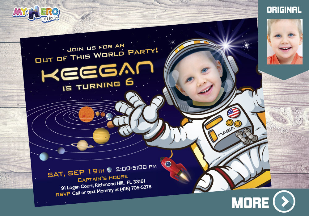 Astronaut Birthday. Astronaut Party Invitation. 004