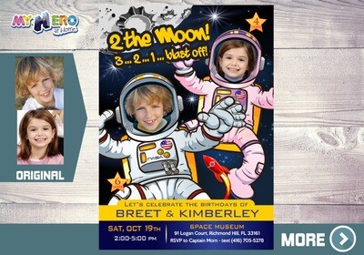 Joint Astronauts Birthday Invitation, Outer Space invitation, Astronauts Siblings Birthday, Boy and Girl Astronauts Virtual Party. 388