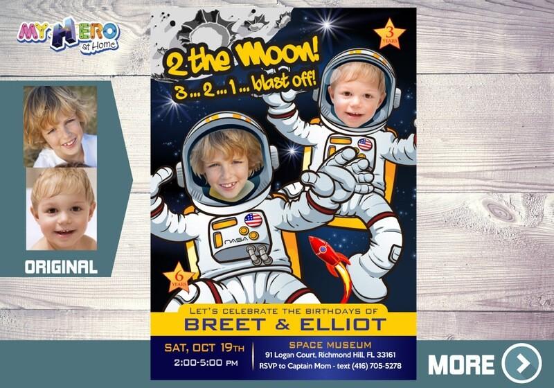 Joint Astronauts Birthday Invitation, Outer Space Party, Astronauts Siblings Birthday, Astronauts Digital Invitation, Astronaut theme. 389