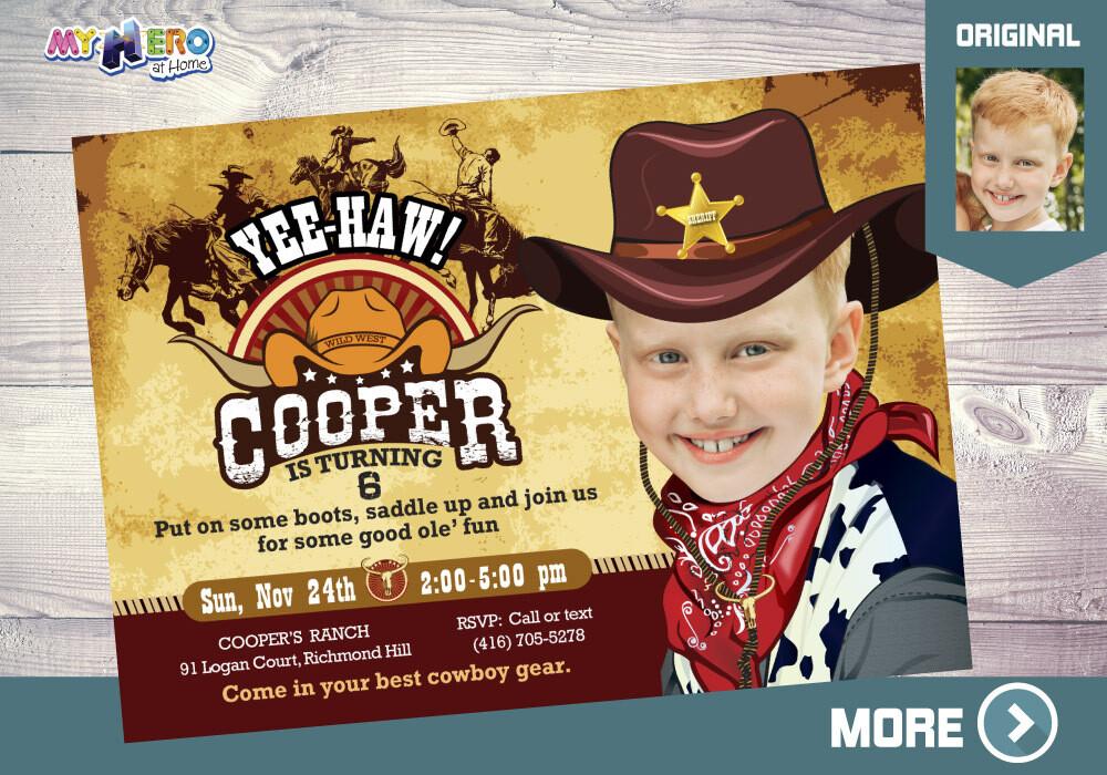 Cowboy Birthday Invitation, Cowboy Party, Rodeo Party, Western Sheriff Birthday, Cowboy Digital Invitation, Cowboy Drive By. 203