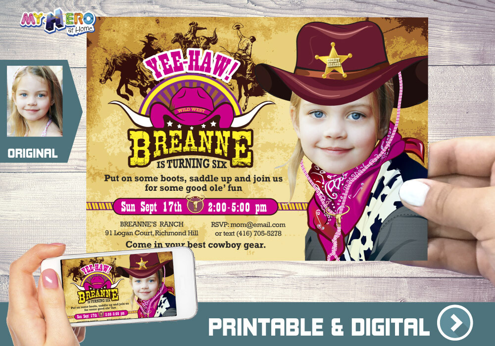 Cowgirl Birthday Invitation, Western Girl Sheriff Birthday, Cowgirl Virtual Party, Cowgirl Digital Invitation, Cowgirl Birthday Parade. 206