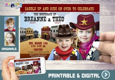 Joint Cowboys Birthday Invitation, Siblings Cowboys Invitation, Cowboys Party Ideas for siblings, Cowboys Digital, Cowboys Virtual. 205