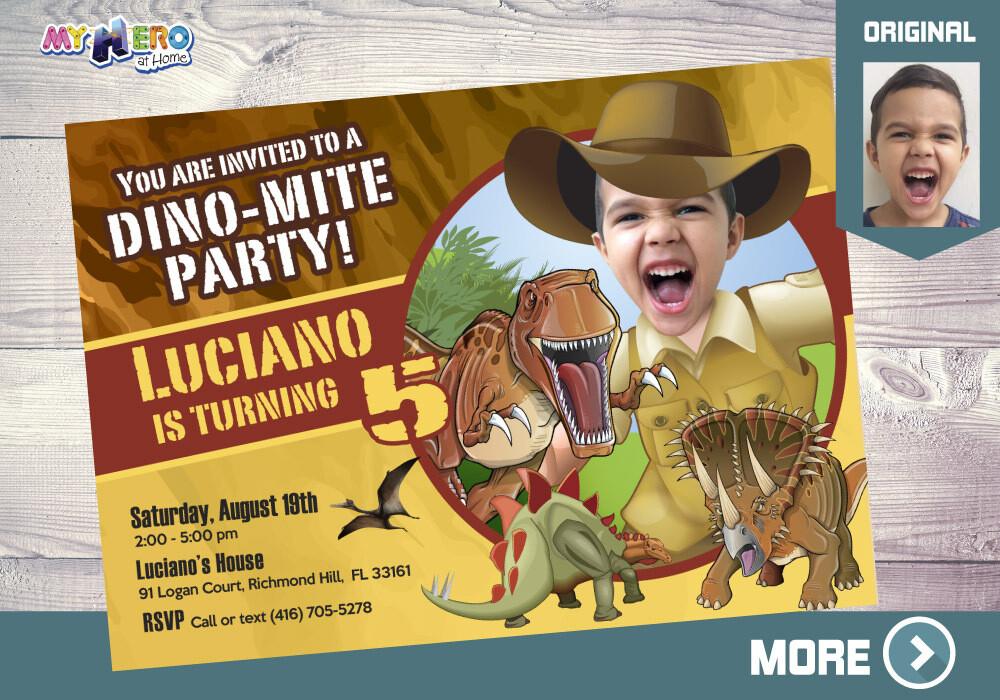 Dino-Mite Party Invitation. Dinosaur themed Party. 209