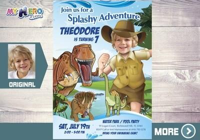 Dinosaurs Pool Party Invitation, T-Rex Pool party, Dinosaurs Adventure Party, Dinosaurs Digital Invitation, Dino Splashy Party, 210