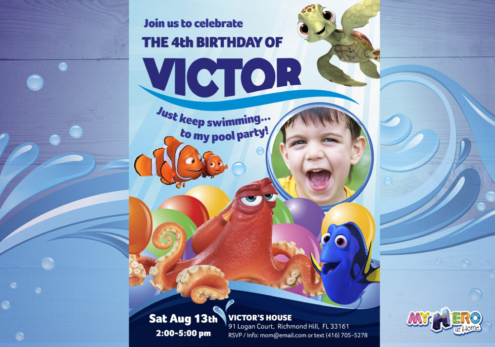 Finding Dory Birthday Invitation for boys, Finding Dory Digital Invitation, Finding Dory Virtual, Finding Dory Pool Party. 222
