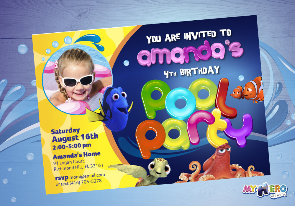 Finding Dory Pool Party Invitation, Finding Dory Birthday Invitation, Finding Dory Digital Invitation. 047
