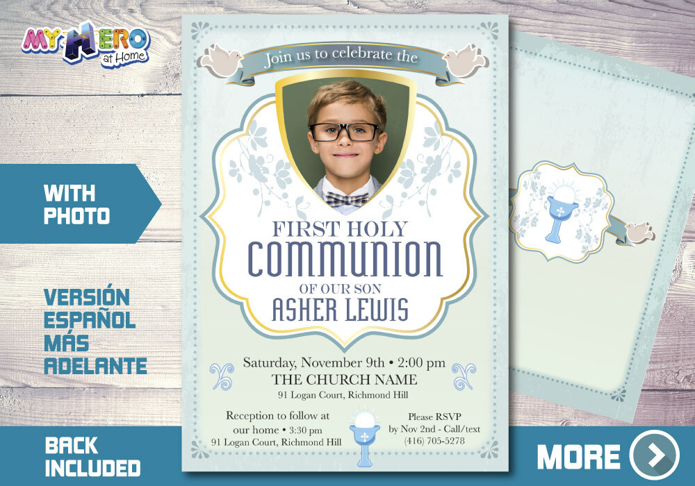 Boy First Communion Invitation, First Holy Communion Invitation, 1st Communion invitation, Invitación Primera Comunión para Niños.​ 379