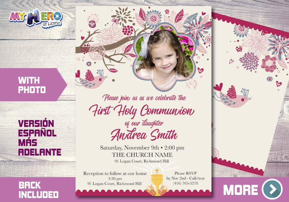 First Holy Communion Invitation, First Communion Invitation for Girls, Communion invite, Invitación Primera Comunión para Niñas. 386