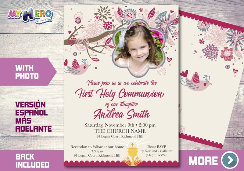 Girl First Communion Invitation. First Holy Communion Invitation. 386