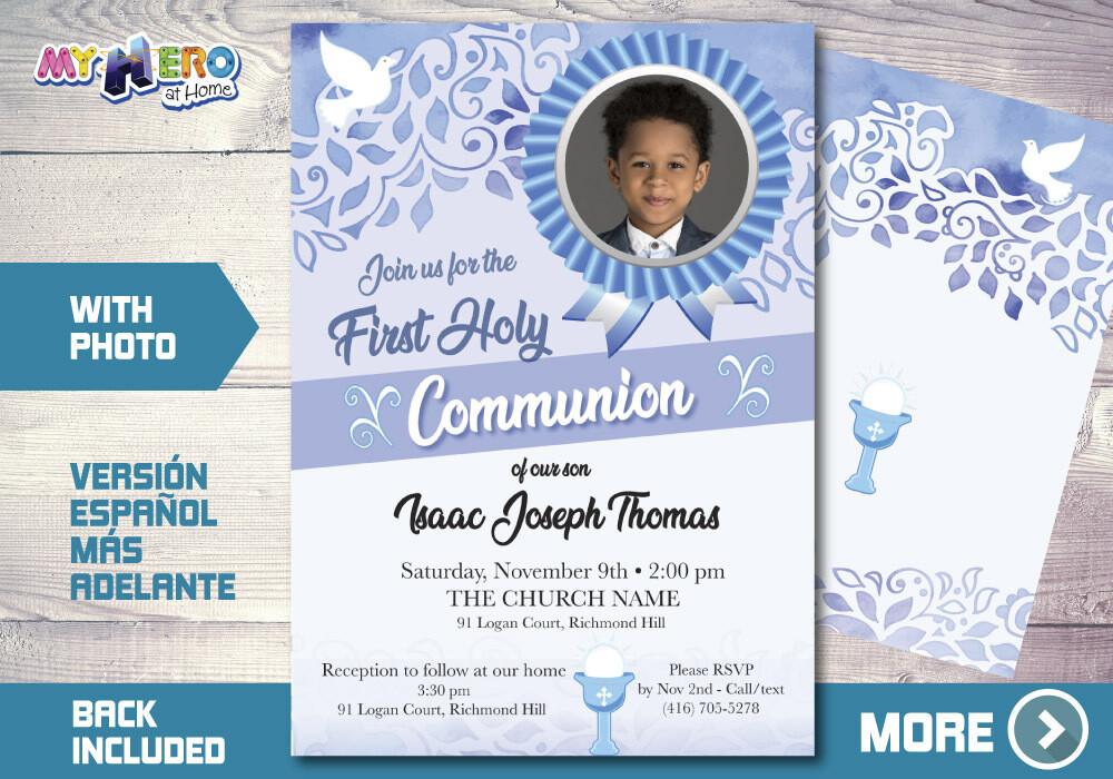 Boy First Communion Invitation, First Holy Communion Invitation, 1st Communion invitation, Invitación Primera Comunión para Niños. 380